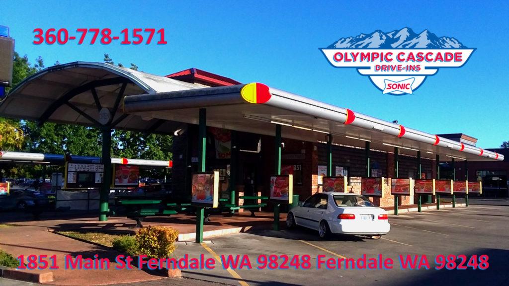 Sonic Drive-In Drive Thru Fast Food Ferndale Bellingham Lynden Washington Whatcom County Mt Vernon Blaine Burgers Fries Tots Ice Cream Slushes Shakes