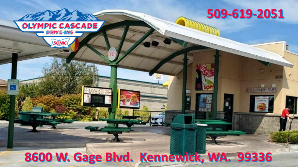 Sonic Drive In Fast Food Restaurant in Kennewick Washington in the Tri-Cities Serving Kennewick, Richland and Pasco, Burgers, hot dogs, corn dogs, ice cream, shakes, french fries, tots.