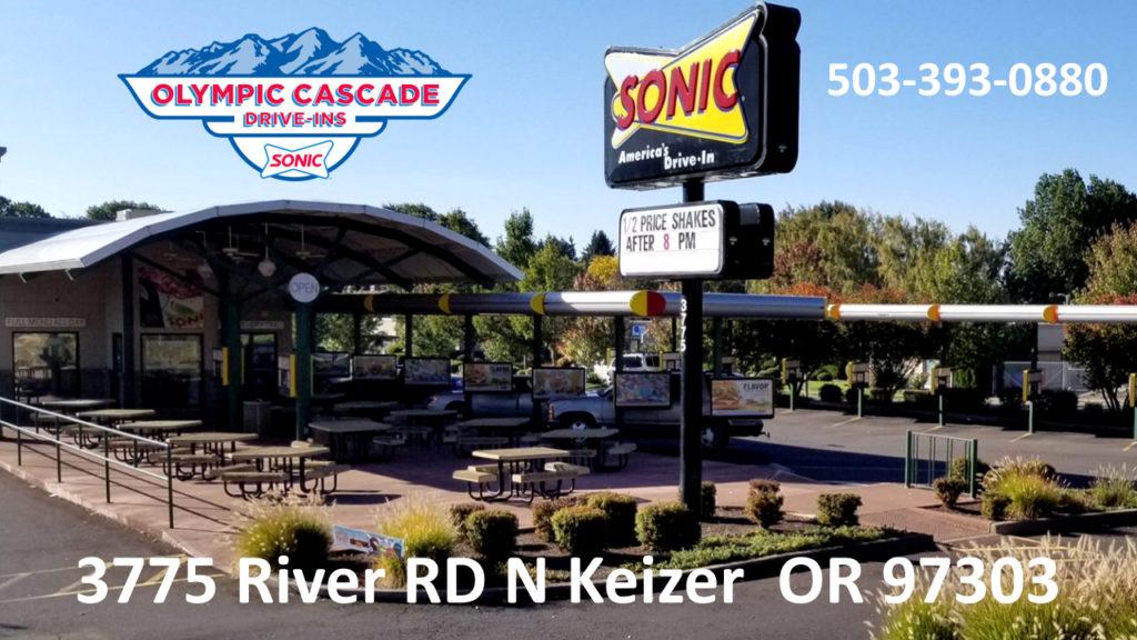Sonic Drive In Drive Thru Dine In Fast Food Keizer Oregon Salem Woodburn Portland Oregon Burgers Fries Tots Ice Cream Slushes Shakes Hot Dogs