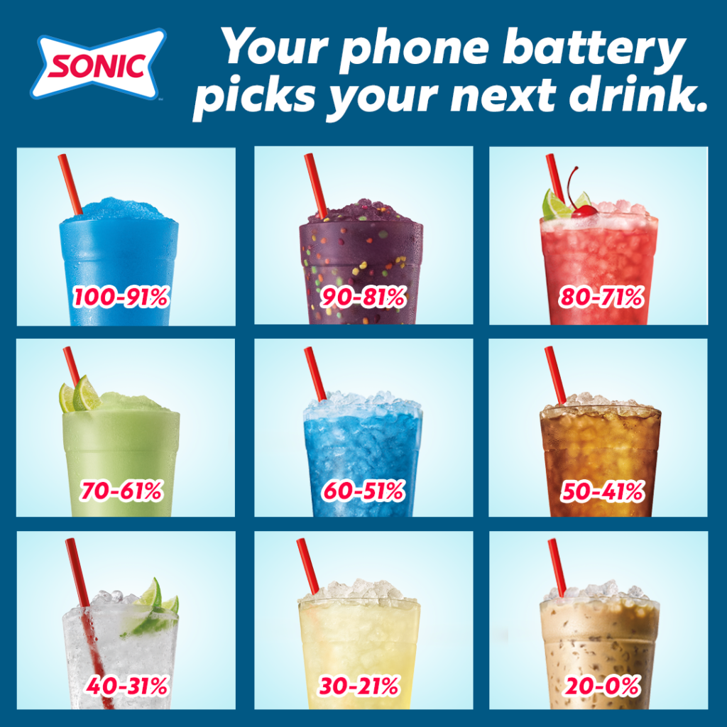 Let your phone battery pick your drink at Sonic drive ins wa and Or Poulsbo Wenatchee Yakima Kennewick Renton Keiser Salem