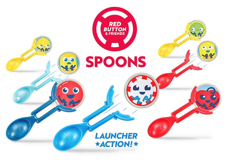 Sonic Drive In Restaurants Wacky Pack Kids Meal Toys Red Button & Friends Spoons and Launcher