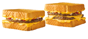 Sonic Drive In grilled cheese burger and double grilled cheese burger